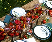 Rustic floral decoration in red