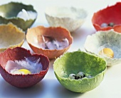Coloured eggshells made from hand-made paper