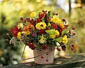 Autumnal bouquet of dahlias