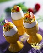 Scrambled egg in eggshell
