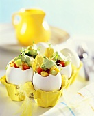 Sweetcorn salad and avocado cream in eggshell