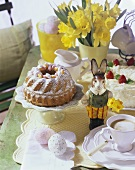 Easter table with gugelhupf and coffee