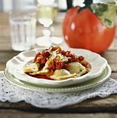 Ravioli al pomodoro (Ravioli with tomato sauce, Italy)