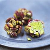 Marzipan balls with pistachios