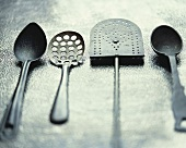 Cooking utensils (spoon, slotted spoon and spatula)