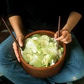 Iceberg lettuce and cucumber salad