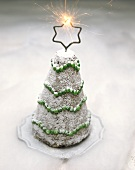 Chocolate cake in shape of a fir tree