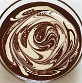 Dark and white chocolate sauce