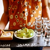 Tray of Tequila, limes and salt