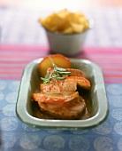 Pork fillet with apple slices