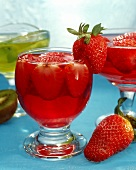 Strawberry jelly with fresh strawberries