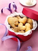 Heart-shaped biscuits in gift box