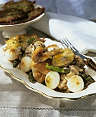 Chicken with onions, mushrooms and goose foie gras