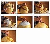 Hollowing out and carving a pumpkin