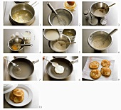 Pancake mit Ahornsirup und Sauerrahm zubereiten
