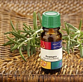 Small bottle of scented rosemary oil