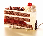 A piece of Black Forest cherry gateau on cake slice