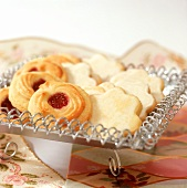 Orange biscuits and butter and marzipan biscuits