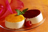 Quark mousse and apricot and raspberry coulis
