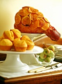Orange and honey glazed ham and sweetcorn muffins