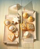 Assorted light-coloured Christmas biscuits