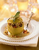 Baked apple with savoury filling of bacon, onion, sage