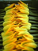 Courgette flowers on a market stall