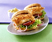 Fish burger with curried mayonnaise