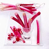 Sticks of rhubarb, whole and chopped