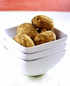 Bowl of Jersey new potatoes