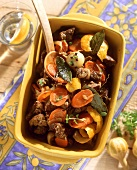 Beef with carrots cooked in the oven