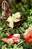 Chocolate Easter bunny in grass