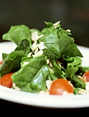 Spinach salad with tomatoes and flaked almonds