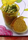 Mexican taco chips and guacamole (avocado dip)