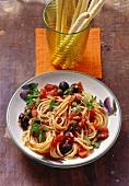 Spaghetti alla puttanesca (spaghetti with tomatoes & capers)