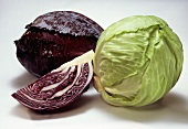 White and red cabbage, and a wedge of red cabbage