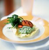 Scallop & mixed kohlrabi & savoy on prawn cracker (kroepoek)