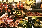 A fruit and vegetable stall in the Boqueria in Barcelona