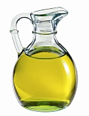 Glass jug of olive oil