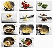 Making pasta salad with rocket