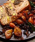 Big game terrine with pistachios, onion & mustard chutney