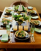 Festive table laid for six (salad appetiser)