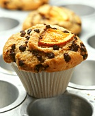 Orange muffin with chocolate nuggets