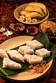 Kiribeth & jaggery (rice pudding & unrefined sugar, Sri Lanka)