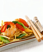 Shrimps with chili, leeks and sweetcorn on egg noodles