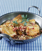 Pike-perch fillet & diced bacon in white wine & cream sauce