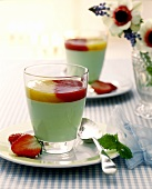 Woodruff pannacotta with two fruit sauces