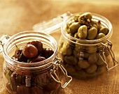 Bottled olives in jars