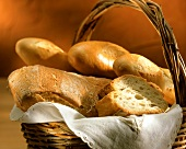 Baguette and ciabatta in bread basket