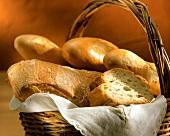 Baguette and ciabatta in bread basket